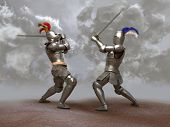 stock photo of jousting  - Two medieval knights fighting with big swords - JPG
