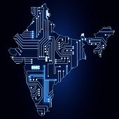 Map Of India With Electronic Circuit