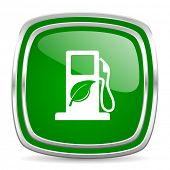 biofuel glossy computer icon on white background