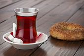 stock photo of bagel  - Turkish Tea and Bagel - JPG