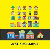 city, house, buildings, country, villa, home icons, signs set, vector