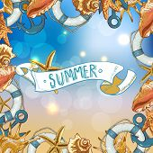 stock photo of lifeline  - Summer Card with Sea Shells - JPG