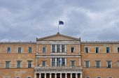 pic of neoclassical  - Hellenic parliament neoclassical building facade under cloudy sky - JPG