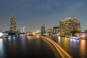 Chao Phraya River Night Scene In Bangkok, Thailand