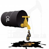 stock photo of stopcock  - Barrel of oil products and stopcock dripping oil drops with currency symbols - JPG