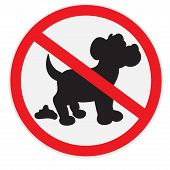 stock photo of dog poop  - Vector illustration of no dog poop sign - JPG