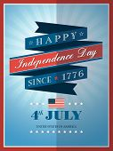 4Th Of July Independence Day Ribbon Background For Card Or Poster