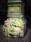 picture of cistern  - Medusa head in Underground Basilica Cistern Istanbul Turkey - JPG
