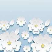 stock photo of sakura  - Beautiful stylish trendy wallpaper blue with 3d flowers sakura and leaves - JPG