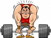 pic of strongman  - Cartoon Illustrations of Strongman Athlete or Weightlifting Sportsman - JPG