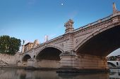 picture of emanuele  - Ponte Vittorio Emanuele II at night bridge on river Tiber in Rome constructed by the architect Ennio De Rossi - JPG