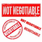 foto of negotiating  - not negotiable and negotiable red and white set grunge stamps vector illustration - JPG