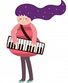 stock photo of accordion  - The view of girl with accordion - JPG