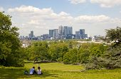 LONDON UK - MAY 15, 2014  View on business district Canary Wharf from Greenwich park