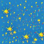 Vector Drawing Delicate Blue Yellow Background Childhood.