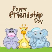 Kiddish greeting card design for Happy Friendship Day concept with cute bear, giraffe and elephant f