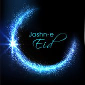 Shiny blue silver moon and stylish text Jashn-e-Eid on blue background for muslim community festival