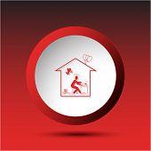 Home inspiration. Plastic button. Vector illustration.