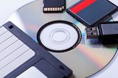 stock photo of flashing  - Selection of different computer storage devices for data and information including a CD - JPG