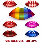 Set Of Beautiful Luscious Lips With Vintage Texture Vector Illustration.
