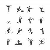 pic of lint  - Decorative swimming boxing weihgtlifting sport symbols internet icons set silhouette graphic isolated vector illustration - JPG