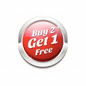 Buy 2 Get 1 Free Glossy Shiny Circular Vector Button