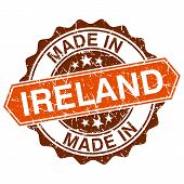 Made In Ireland Vintage Stamp Isolated On White Background