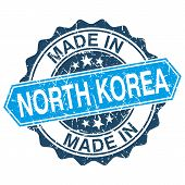 Made In North Korea Vintage Stamp Isolated On White Background