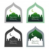 Ramadan Mubarak designs showing mosque silhouette with moon.