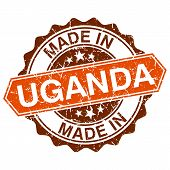 Made In Uganda Vintage Stamp Isolated On White Background