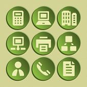 Office web icons set. Green sticker.