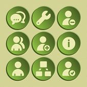 Users web icons set. Green sticker.