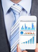 Businessman Showing Graphs On Smartphone