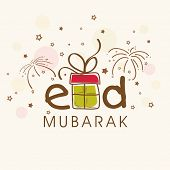 Eid Mubarak celebrations greeting card design with stylish text and gift box on fireworks background