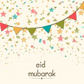 Stylish greeting card design with colourful ribbons on stars decorated beige background for Eid Mubarak celebrations.