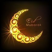 Golden floral decorated crescent moon on shiny brown background for Muslim community festival Eid Mubarak celebrations.