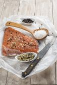 picture of chums  - Smoked marinated salmon and ingredients on the kitchen table - JPG