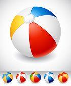 Vector illustration - Beach ball on white