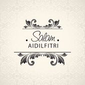 Beautiful greeting card with stylish text Salam Aidilfitri on floral design decorated beige background.