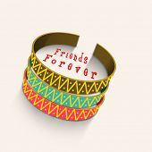 image of  friends forever  - Colorful friendship bangles on beige background with stylish text Friends Forever - JPG