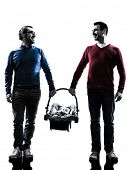 image of homosexual  - homosexuals parents men family with baby in silhouettes on white background - JPG