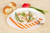 Mushroom soup with bread