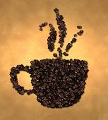 Cup Vapor Icon Coffee Bean on Old Paper