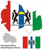 picture of novosibirsk  - Outline map of Novosibirsk Oblast with flag - JPG