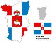Outline Map Of Perm Krai With Flag