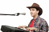 Cowboy Playing Digital Piano