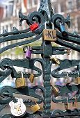 Lock On The Bridge At Amsterdam, Netherlands