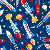 Rockets In Space Seamless Pattern
