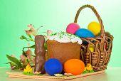 Eggs, an Easter cake, rabbit and alstromeria