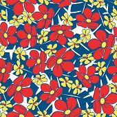 Small Red Tropical Flowers Seamless Pattern